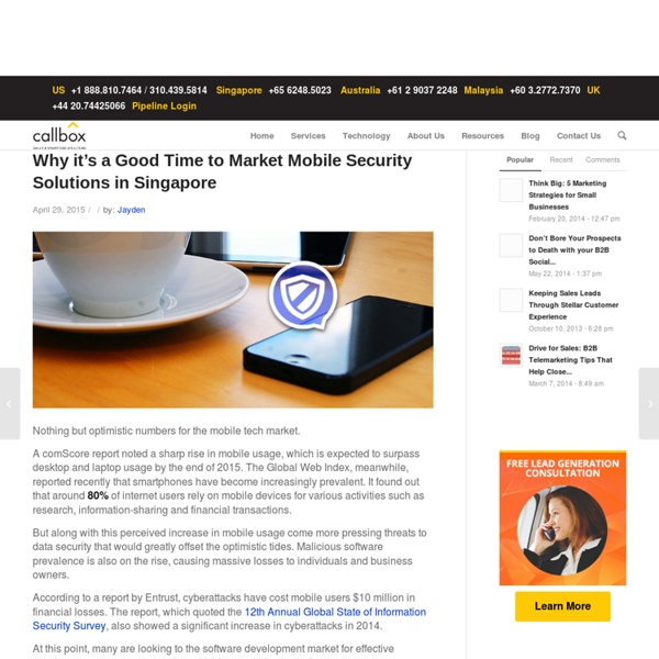 Why it's a Good Time to Market Mobile Security Solutions in Singapore