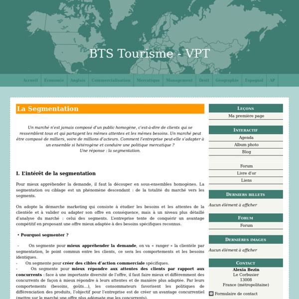 La Segmentation - BTS Tourisme - VPT