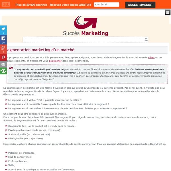Segmentation de marché en marketing: groupes d'acheteurs potentiels