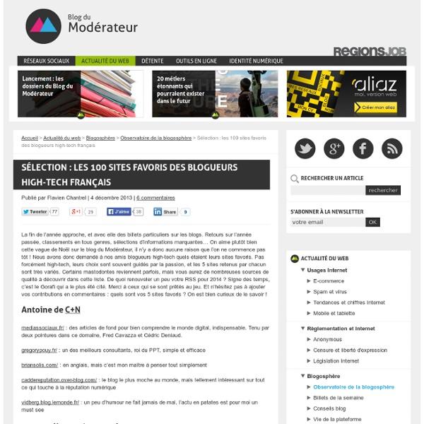 Sélection : les 100 sites favoris des blogueurs high-tech français