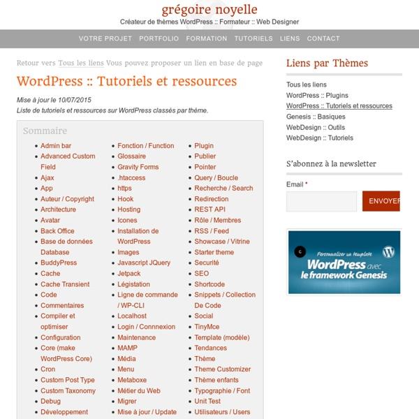 Sélection de tutoriels essentiels sur WordPress en français et en anglais