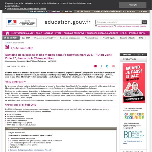 """Semaine de la presse et des médias dans l'école® en mars 2017 : """"D'où vient l'info ?"""", thème de la 28ème édition"""