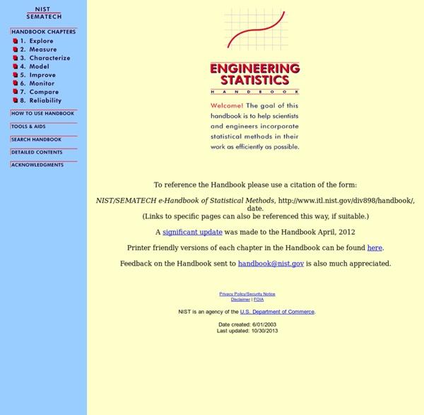 SEMATECH e-Handbook of Statistical Methods