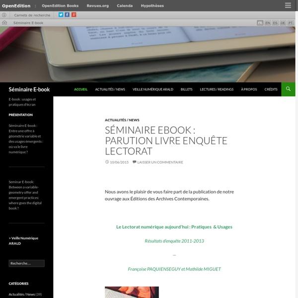 E-book : usages et pratiques d'écran