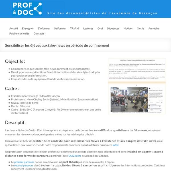 Sensibiliser les élèves aux fake-news en période de confinement – Prof & Doc