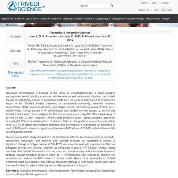 Mahendra Trivedi Innovative Research on Improving Sensitivity Pattern Of Raoultella ornithinolytica