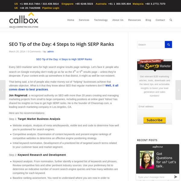 SEO Tip of the Day: 4 Steps to High SERP RanksB2B Lead Generation, Appointment Setting, Telemarketing