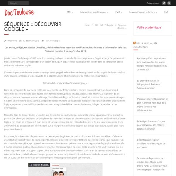 Séquence «Découvrir Google» – Doc'Toulouse