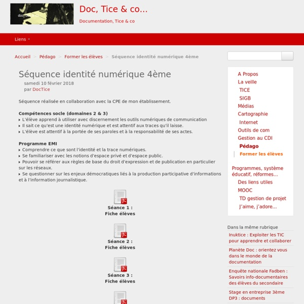 Séquence identité numérique 4ème - Doc, Tice & co...