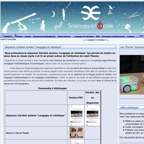 """Séquence Inirobot scolaire """"Langages et robotique"""""""