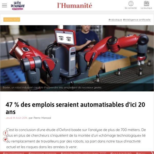 47 % des emplois seraient automatisables d'ici 20 ans