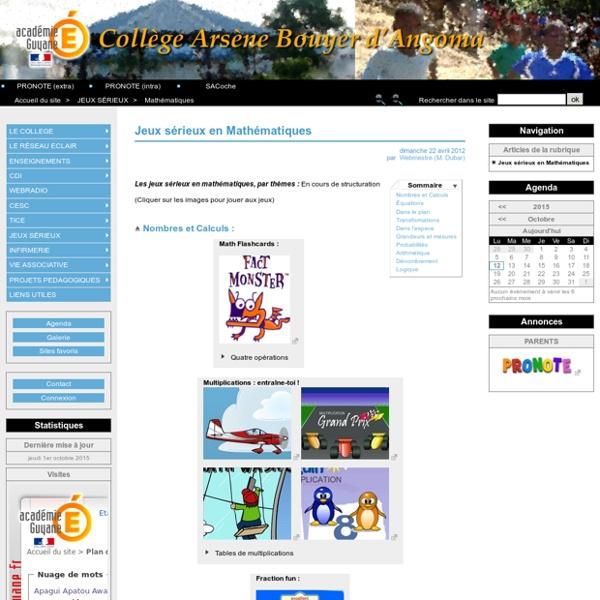 Jeux sérieux en Mathématiques - Collège Arsène Bouyer d'Angoma