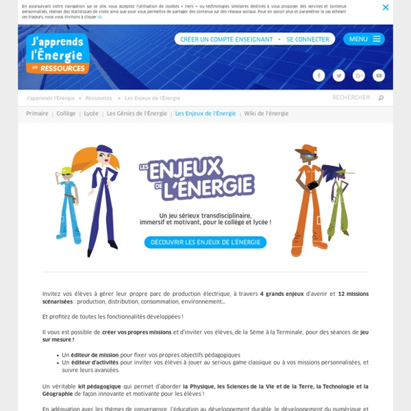 J'apprends l'Energie - Serious game