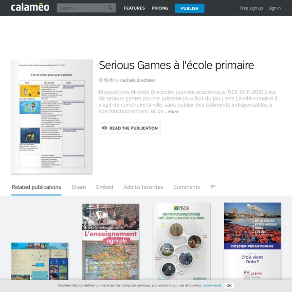 Calaméo - Serious Games à l'école primaire