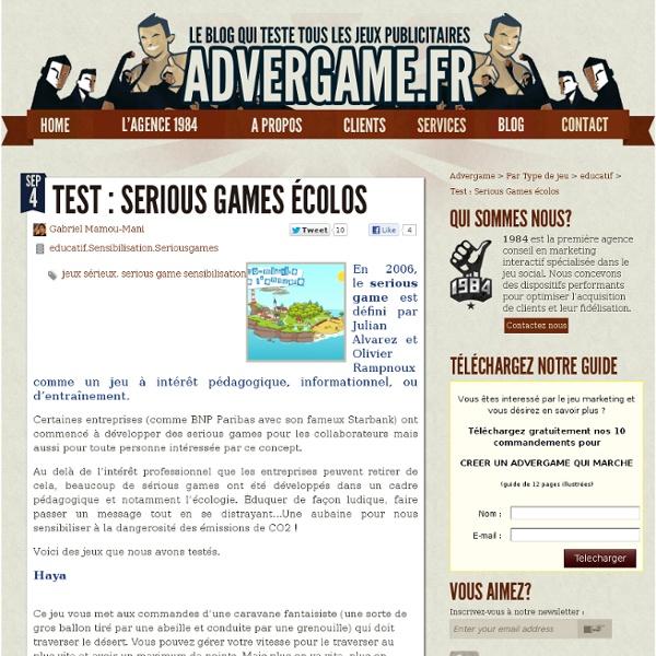Des Serious Games dédiés à l'Écologie