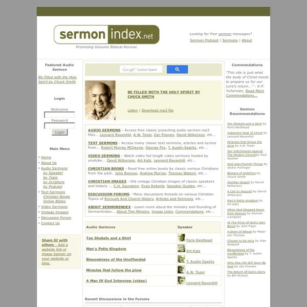 SermonIndex.net Audio Sermons - Sermon Index