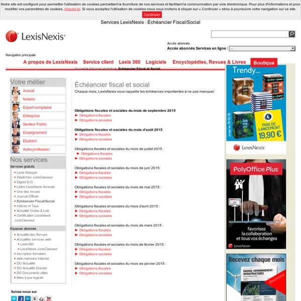 Services LexisNexis : Échéancier Fiscal/Social