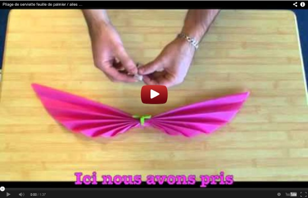 Pliage de serviette feuille de palmier / ailes d'oiseau