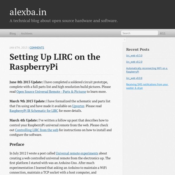 Setting up LIRC on the RaspberryPi - alexba.in