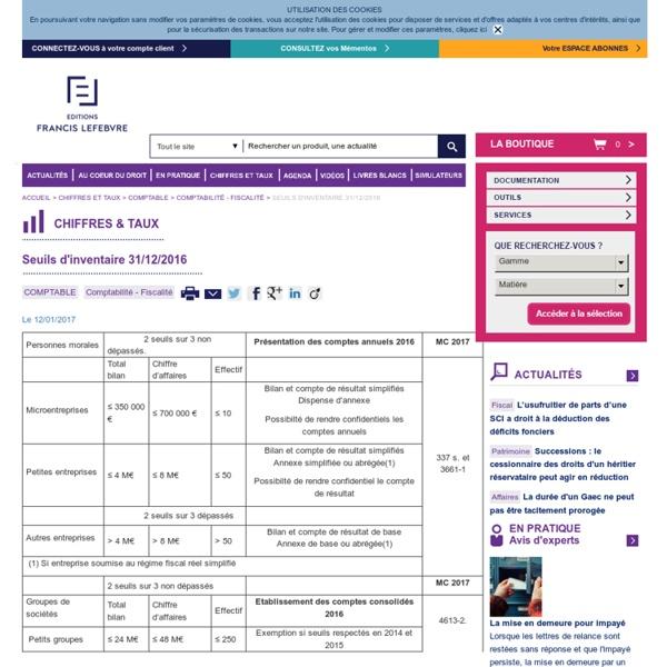 Seuils d'inventaire 31/12/2016