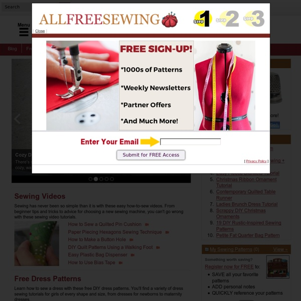 All Free Sewing Free Sewing Patterns Sewing Projects Tips Video