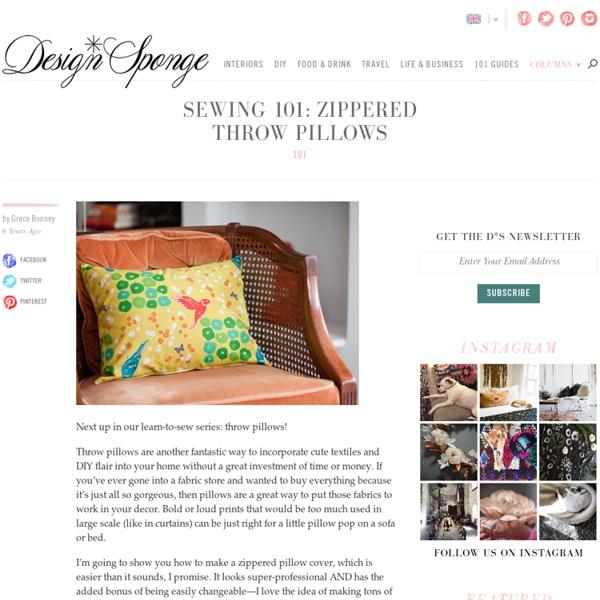 Sewing 101: zippered throw pillows