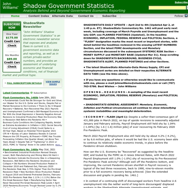 Shadow Government Statistics - Home Page