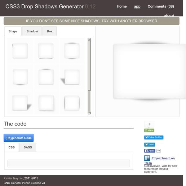 CSS3 Drop Shadows Generator - Application