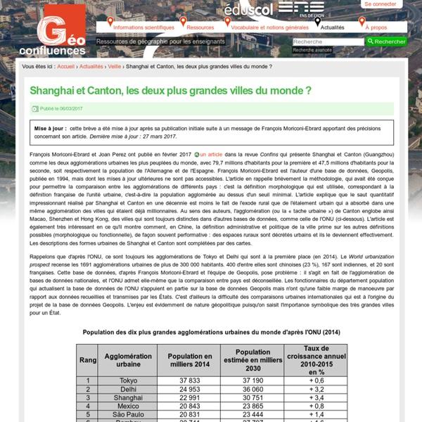Shanghai et Canton, les deux plus grandes villes du monde