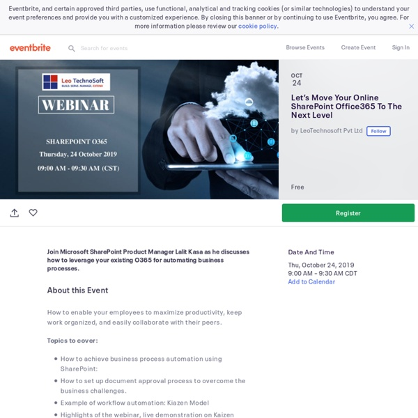 Let's Move Your Online SharePoint Office365 To The Next Level Tickets, Thu, Oct 24, 2019 at 9:00 AM