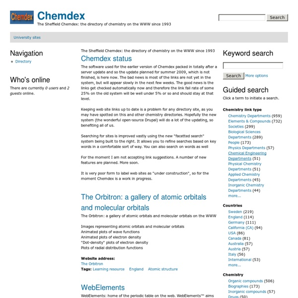 The Sheffield Chemdex: the directory of chemistry on the WWW since 1993