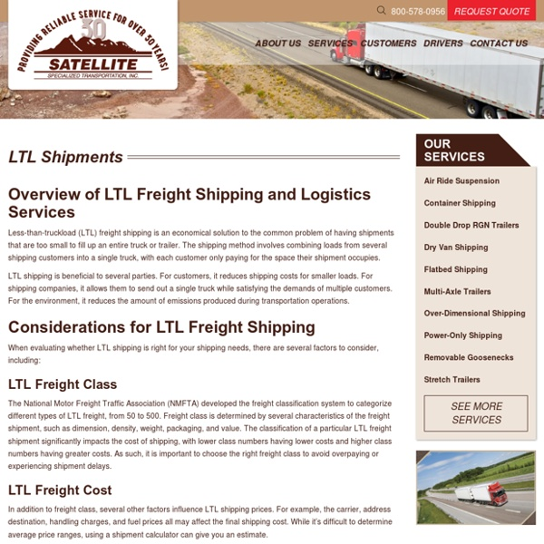 LTL Freight Shipping and Logistics Services