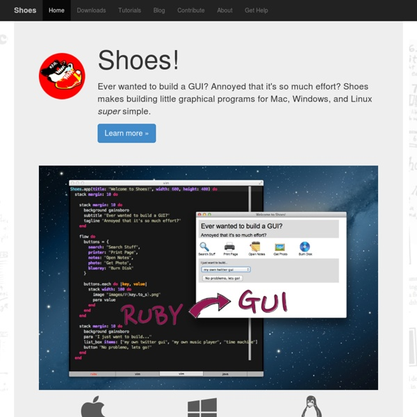Shoes! The easiest little GUI toolkit, for Ruby.