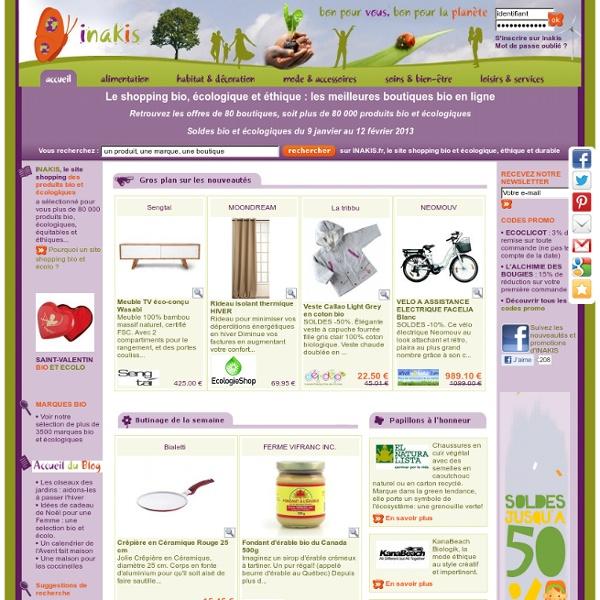 INAKIS - Le Shopping Bio et Ecologique : Bon pour Vous, Bon pour la Planète. Découvrez notre sélection de près de 85 000 produits bio et écologiques