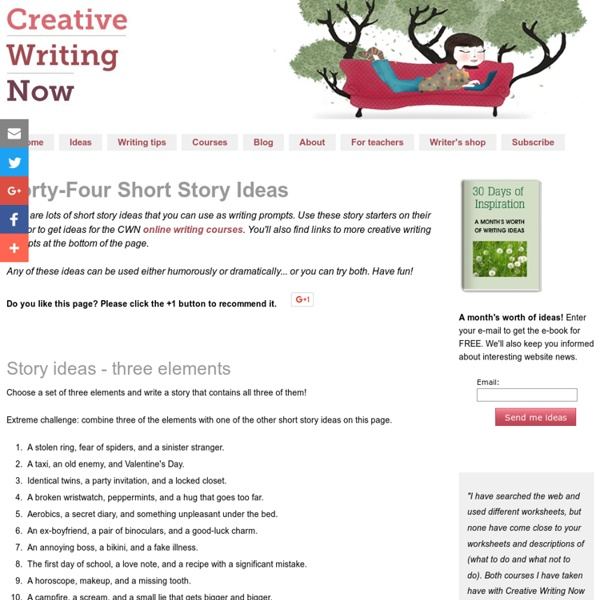 short story topics and creative writing ideas Use these 10 short story ideas to this site has a lot of ideas for the creative writing very informative ideas i am also writing a short true story that.