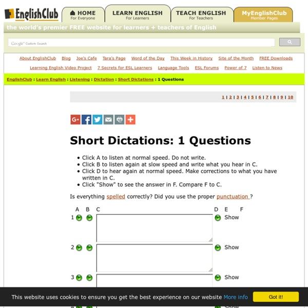 SHORT DICTATIONS: Questions