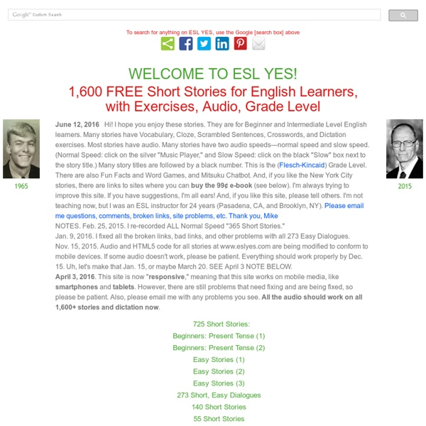 ESL Yes 1,600 Free ESL Short Stories, Exercises, Audio | Pearltrees