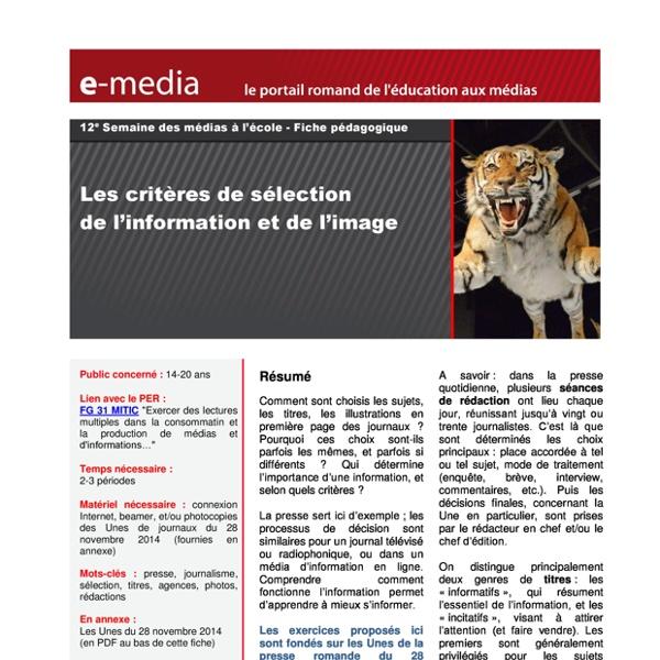 Les critères de sėlection de l'information et de l'image