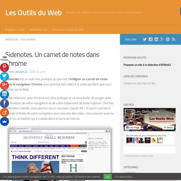 Sidenotes. Un carnet de notes dans Chrome - Les Outils du Web