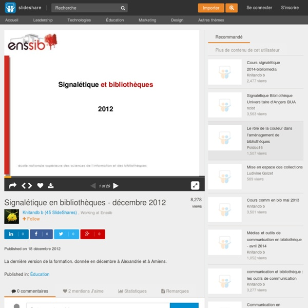 Signalétique en bibliothèques - décembre 2012