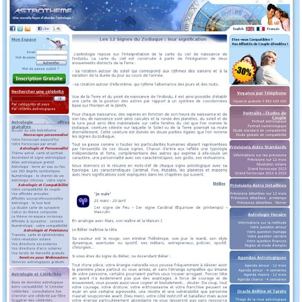 Signification des 12 signes astrologiques du zodiaque