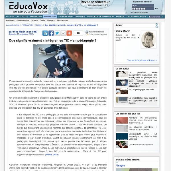 Que signifie vraiment « intégrer les TIC » en pédagogie