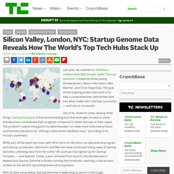 Silicon Valley, London, NYC: Startup Genome Data Reveals How The World's Top Tech Hubs Stack Up