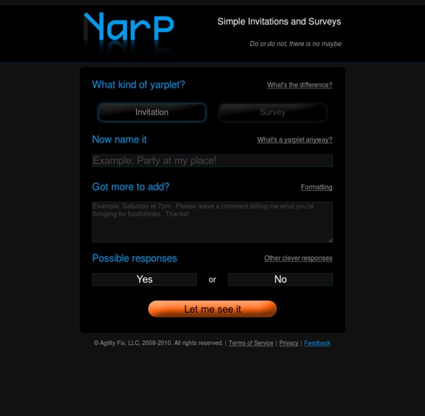 Yarp : Simple Invitations and Surveys