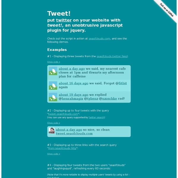 Tweet! Put Twitter on your site with this simple, unobtrusive jQuery widget