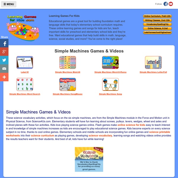 Simple Machines Games - Learn About Simple Machines Online