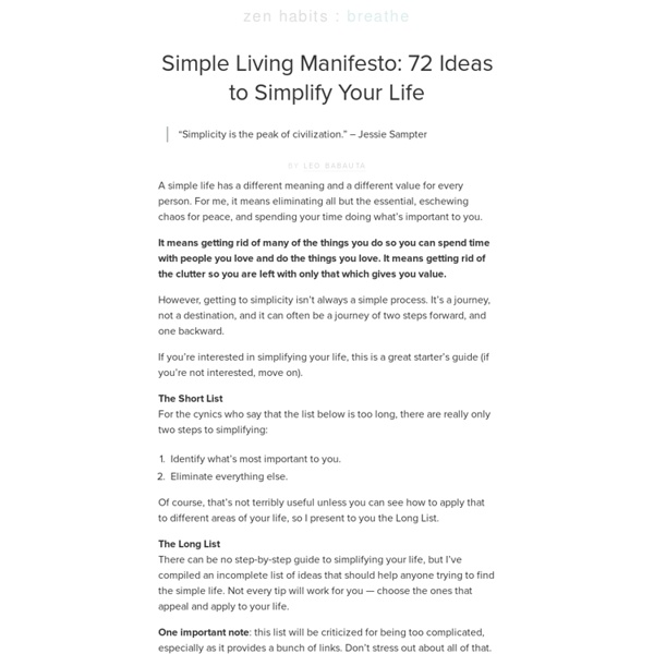 Simple Living Manifesto: 72 Ideas to Simplify Your Life