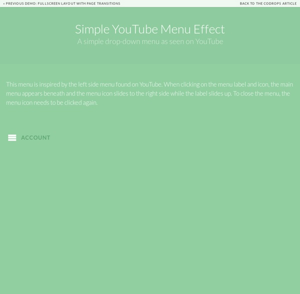 Simple YouTube Menu Effect