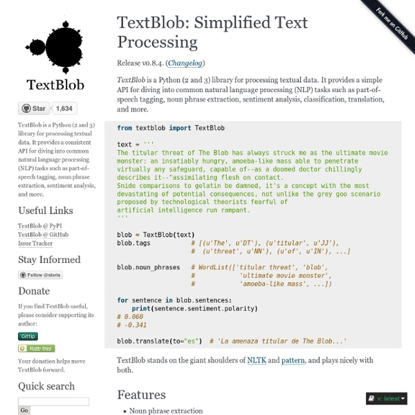 TextBlob: Simplified Text Processing — TextBlob 0.9.0-dev documentation