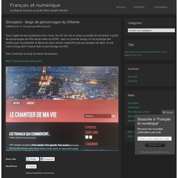 Simulation : blogs de personnages du XIXeme